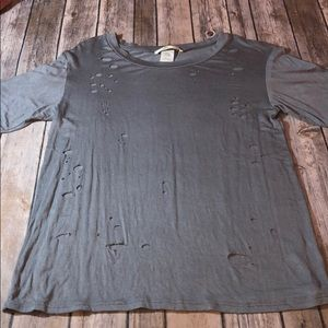 Tops - Women's Gray Shirt with Holes